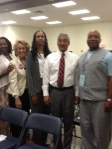 From left, Leone Lee, Lillian King Boyd, Cynthia Mitchell, Congressman Bobby Scott, and Willie Lee