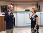 Sharon Goertz be sworn-in by Prince George Circuit Court Clerk Bishop Knott